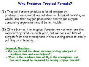 Why Preserve Tropical Forests 1 Tropical forests produce