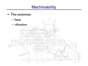 Machinability The enemies heat vibration Vibration chatter Vibration