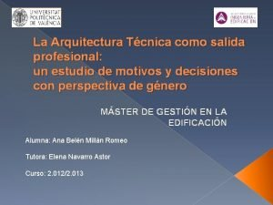 La Arquitectura Tcnica como salida profesional un estudio