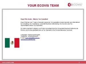 YOUR ECOVIS TEAM Hugo Pia Zavala Mexico Tax