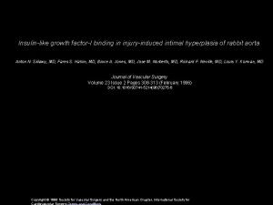 Insulinlike growth factorI binding in injuryinduced intimal hyperplasia