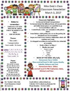 Miss Dalys Classroom Newsletter March 3 2017 Dates
