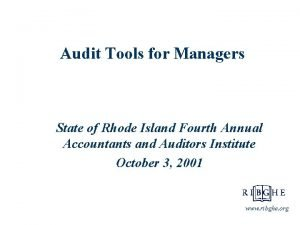 Audit Tools for Managers State of Rhode Island
