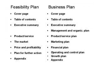 Feasibility Plan Business Plan Cover page Table of