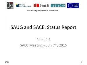 Seasonal Adjustment Center of Excellence SAUG and SACE