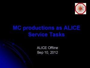 MC productions as ALICE Service Tasks ALICE Offline