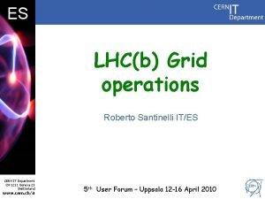 DB ES LHCb Grid operations Roberto Santinelli ITES