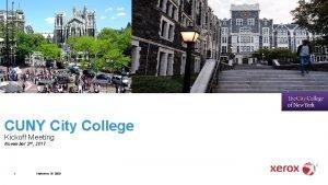 CUNY City College Kickoff Meeting November 2 nd