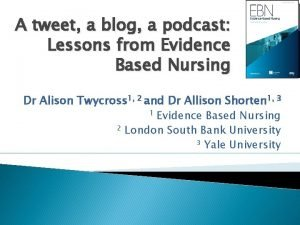 A tweet a blog a podcast Lessons from
