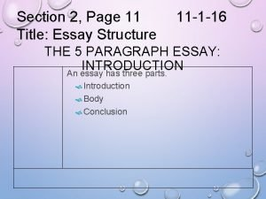 Section 2 Page 11 Title Essay Structure 11