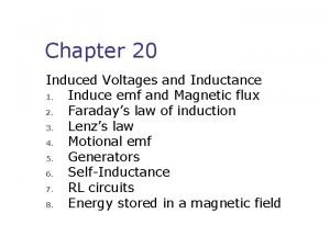 Chapter 20 Induced Voltages and Inductance 1 Induce