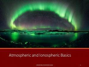 Atmospheric and Ionospheric Basics ATMOSPHERICIONOSPHERIC BASICS 1 Earths