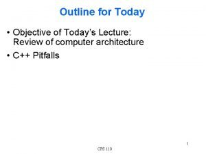 Outline for Today Objective of Todays Lecture Review