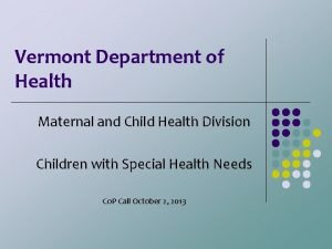 Vermont Department of Health Maternal and Child Health