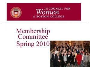 Membership Committee Spring 2010 Top 2010 Priorities I