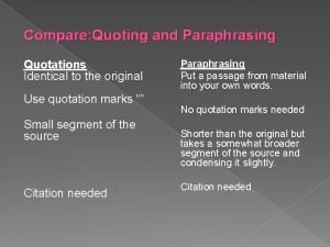 Compare Quoting and Paraphrasing Quotations Identical to the