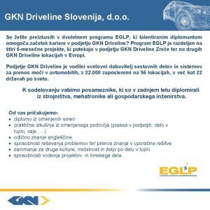 GKN Driveline Slovenija d o o Se elite