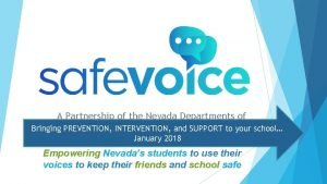 A Partnership of the Nevada Departments of Education
