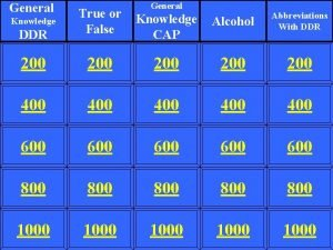 General DDR True or False Knowledge CAP Alcohol