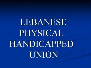 LEBANESE PHYSICAL HANDICAPPED UNION Who is Lebanese Physical