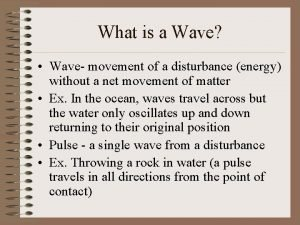 What is a Wave Wave movement of a