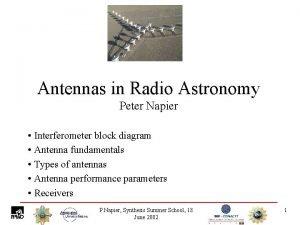 Antennas in Radio Astronomy Peter Napier Interferometer block
