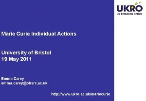 Marie Curie Individual Actions University of Bristol 19