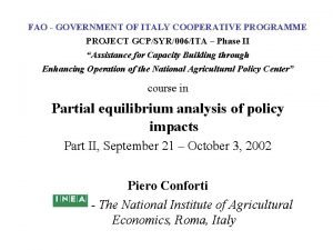 FAO GOVERNMENT OF ITALY COOPERATIVE PROGRAMME PROJECT GCPSYR006ITA