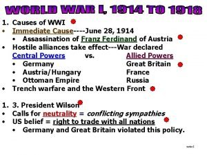 1 Causes of WWI Immediate CauseJune 28 1914