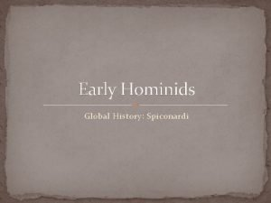 Early Hominids Global History Spiconardi Analyze the artists