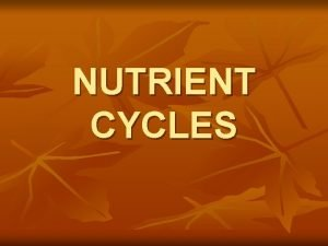 NUTRIENT CYCLES GEOCHEMICAL CYCLES Movement of a particular