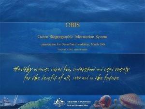 OBIS Ocean Biogeographic Information System presentation for Ocean