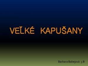 VEK KAPUANY Barbara Babejov 3 B SYMBOLY MESTA