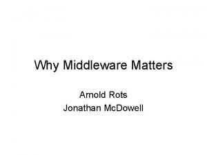 Why Middleware Matters Arnold Rots Jonathan Mc Dowell