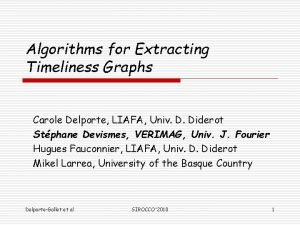 Algorithms for Extracting Timeliness Graphs Carole Delporte LIAFA