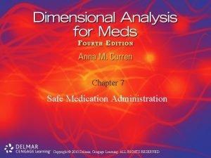 Chapter 7 Safe Medication Administration Copyright 2010 Delmar