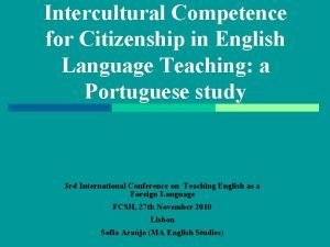 Intercultural Competence for Citizenship in English Language Teaching