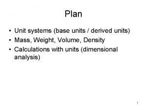Plan Unit systems base units derived units Mass