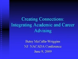 Creating Connections Integrating Academic and Career Advising Betsy