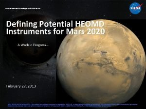 National Aeronautics and Space Administration Defining Potential HEOMD