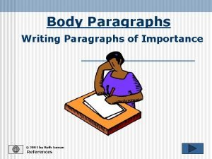 Body Paragraphs Writing Paragraphs of Importance 2001 by