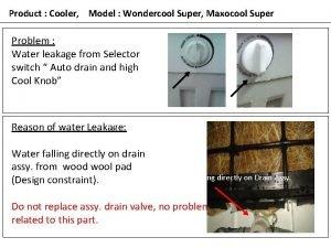 Product Cooler Model Wondercool Super Maxocool Super Problem
