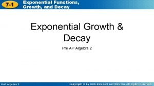 7 1 Exponential Functions Growth and Decay Exponential