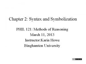 Chapter 2 Syntax and Symbolization PHIL 121 Methods