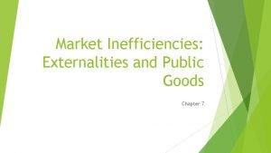 Market Inefficiencies Externalities and Public Goods Chapter 7