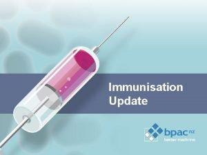 Immunisation Update Changes to the immunisation schedule Contraindications
