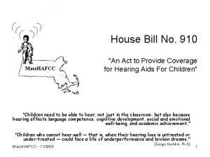 House Bill No 910 Mass HAFCC An Act