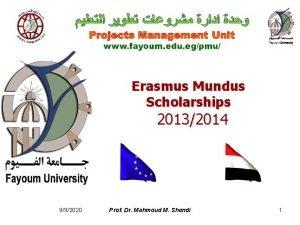 Erasmus Mundus Scholarships 20132014 992020 Prof Dr Mahmoud