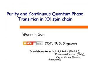 Purity and Continuous Quantum Phase Transition in XX