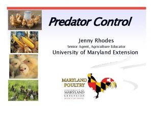 Predator Control Jenny Rhodes Senior Agent Agriculture Educator